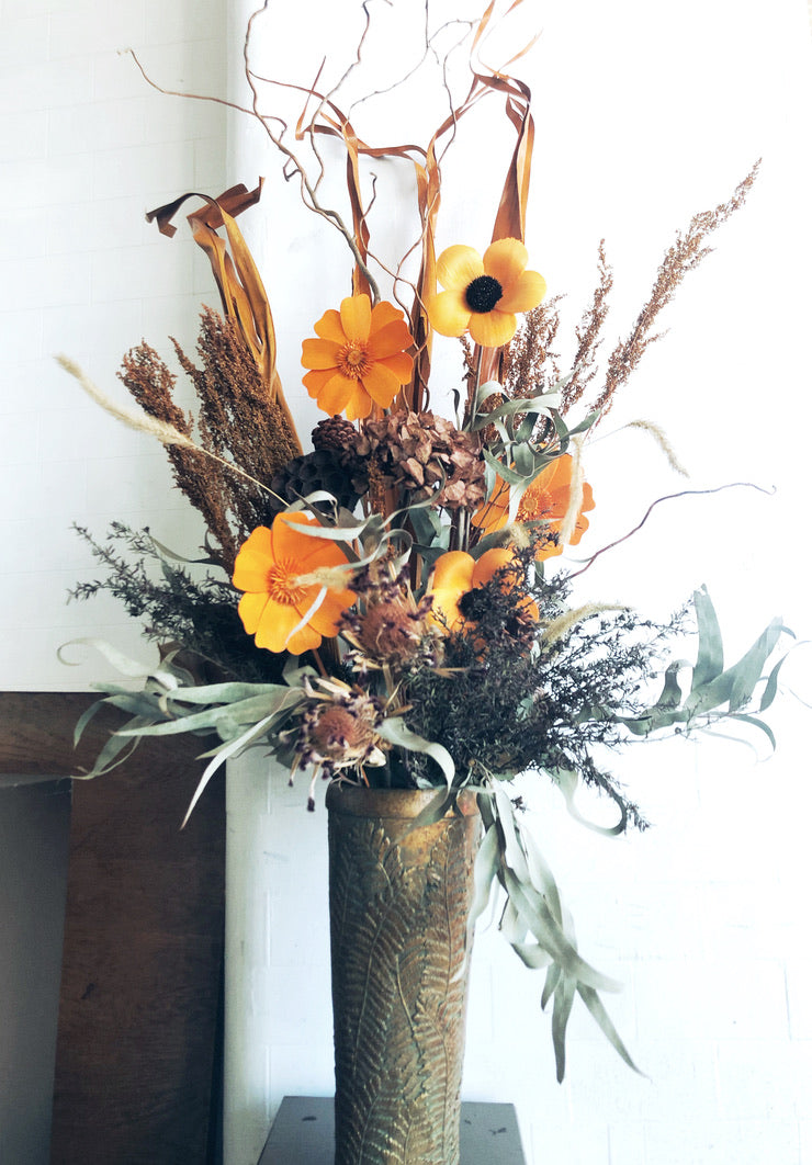 dried flower arrangement copper and orange