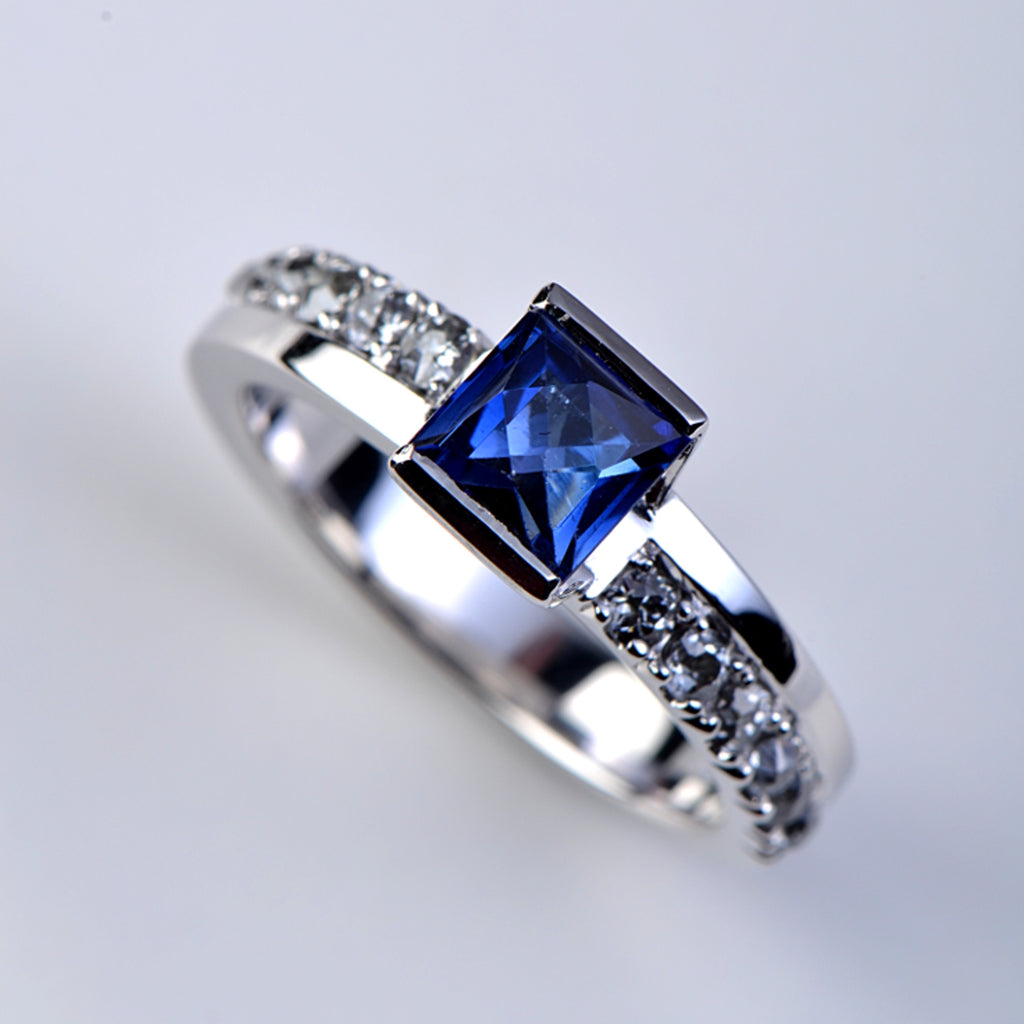 Sapphire ring remodelled into a contemporary design