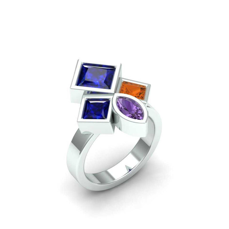 A ring designed to fit the customer's gemstones