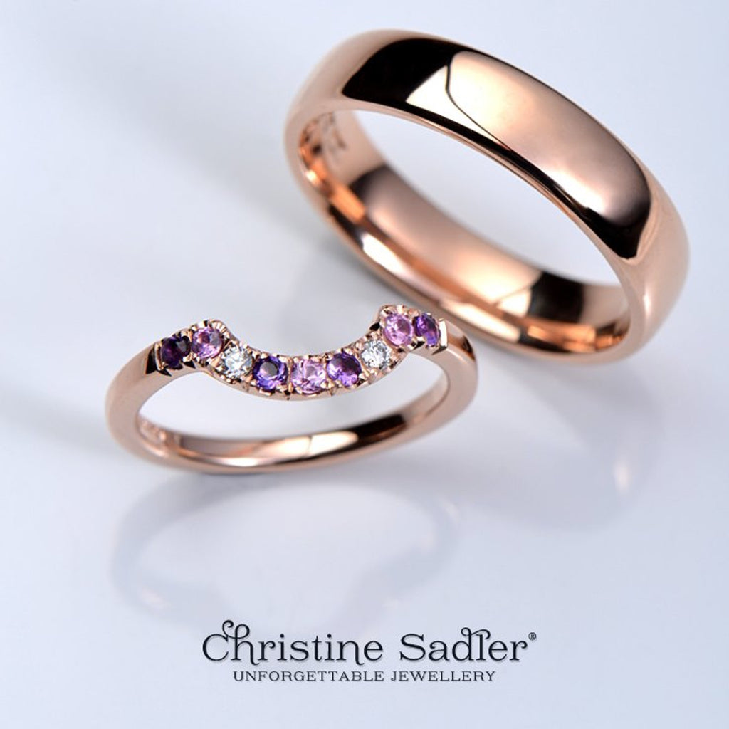 Add colour to your wedding rings to make them more personal.