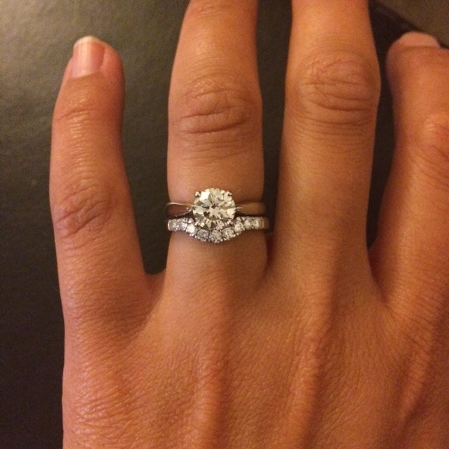 Handmade shaped wedding rings to fit engagement ring