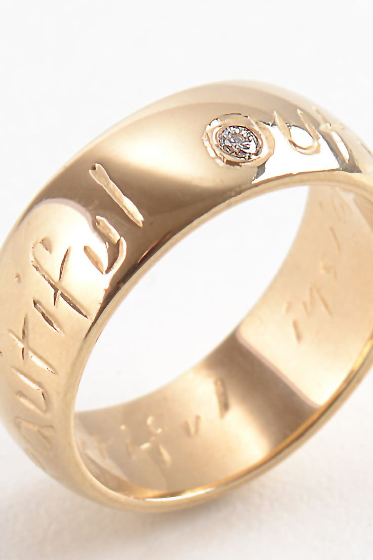 Beautiful Gold Wide Ring with Diamond - Unforgettable Jewellery