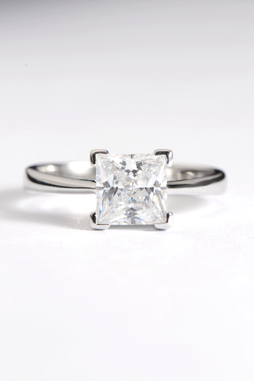 Square silver CZ ring