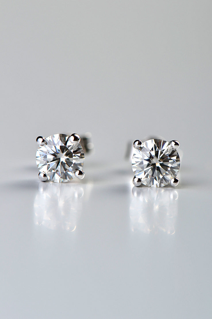 18ct white gold 4 claw moissanite earrings