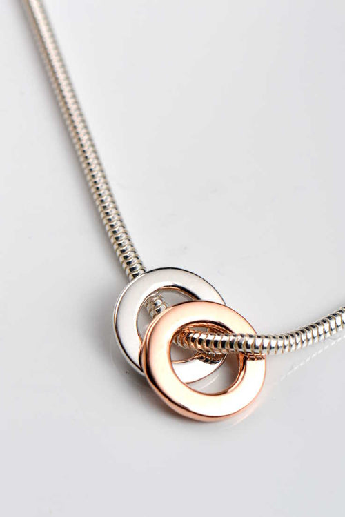 Affinity rose and white gold ring on silver chain