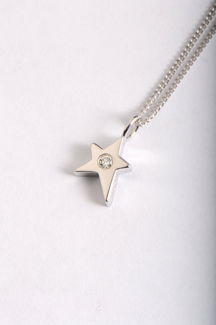 Falling Star 9ct white gold diamond pendant - Unforgettable Jewellery