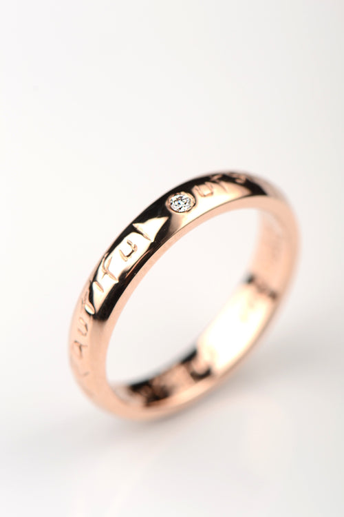 Beautiful rose gold narrow ring with diamond