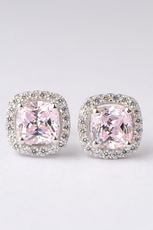 Silver pink CZ cushion cut halo earrings
