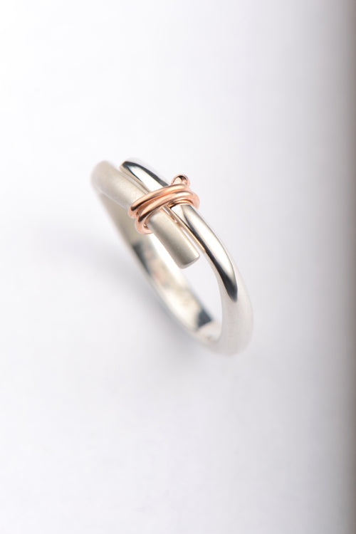 Stay Together silver ring with 9ct rose gold