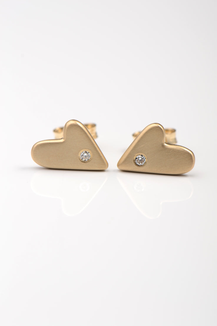 From the heart gold diamond earrings large - Unforgettable Jewellery