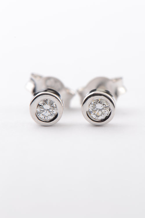 Cairn white gold round diamond studs - Unforgettable Jewellery