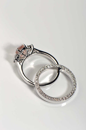 Oval morganite and diamond ring