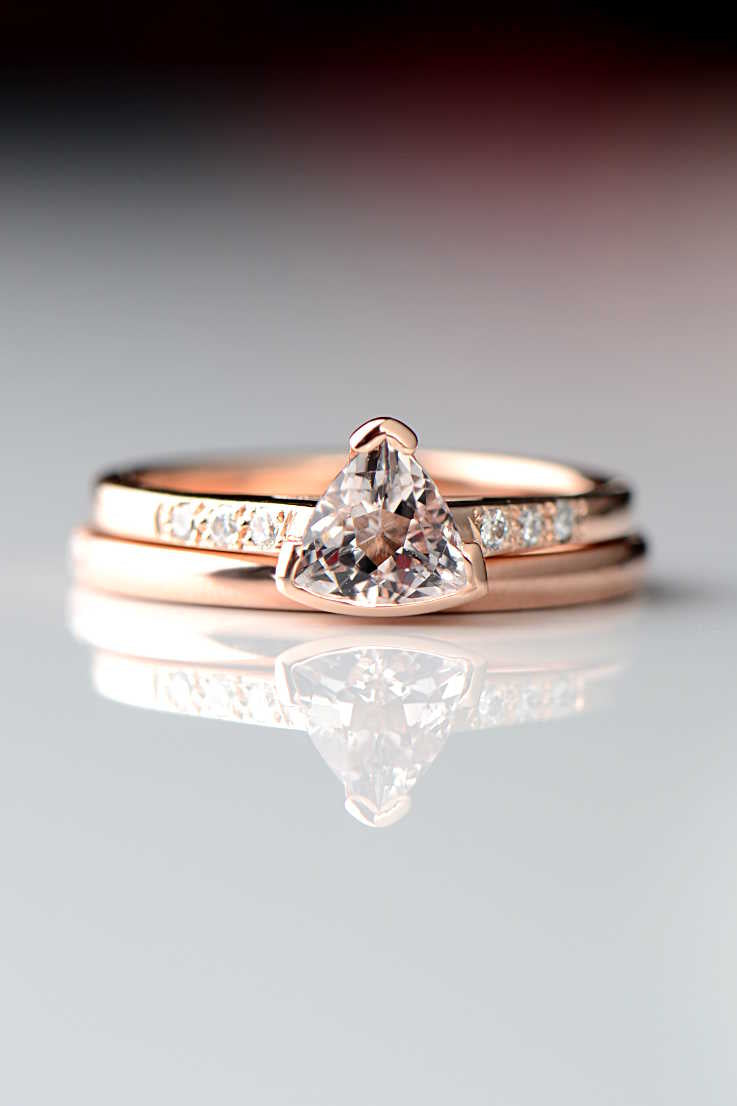 Morganite trillion diamond ring slingshot design rose gold bridal set