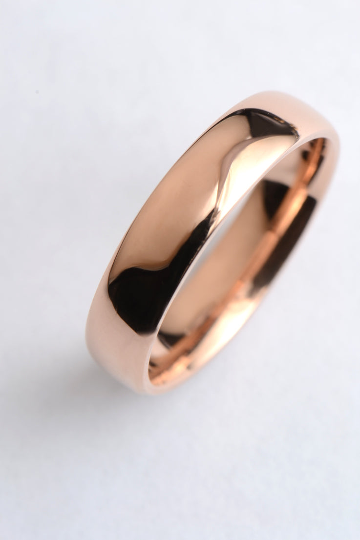 5mm 9ct rose gold court ring - Unforgettable Jewellery