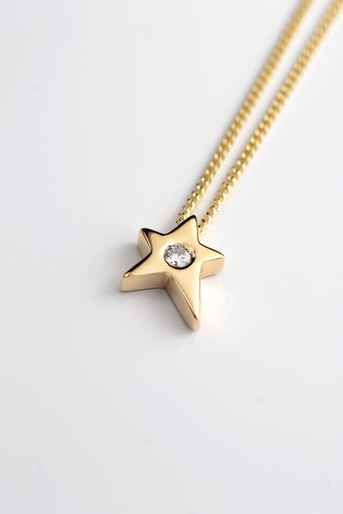 Falling Star 9ct yellow gold and diamond pendant - Unforgettable Jewellery