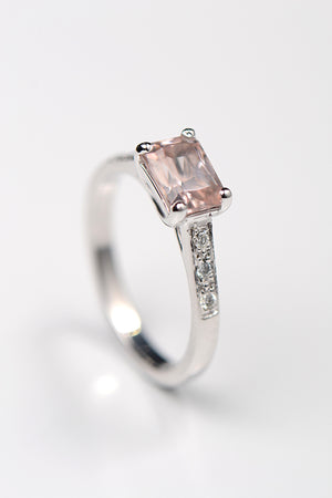 Morganite radiant cut and diamond 9ct white gold ring
