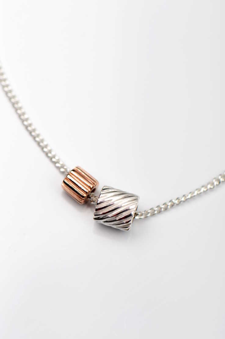 Bella Figura rose gold Ditalini and silver Ditali pendant - Unforgettable Jewellery