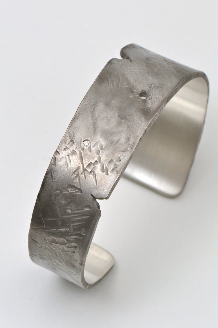 Hero diamond wide tapered cuff - Unforgettable Jewellery