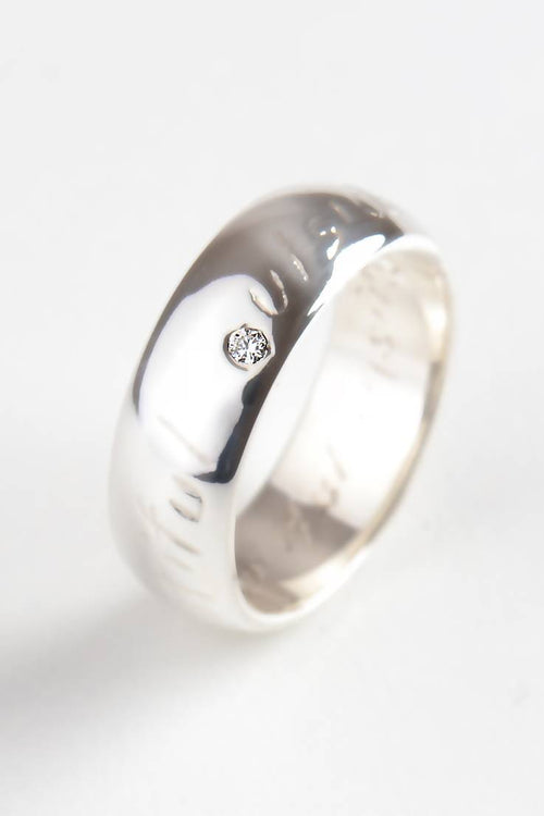Beautiful Silver Wide Ring with Diamond