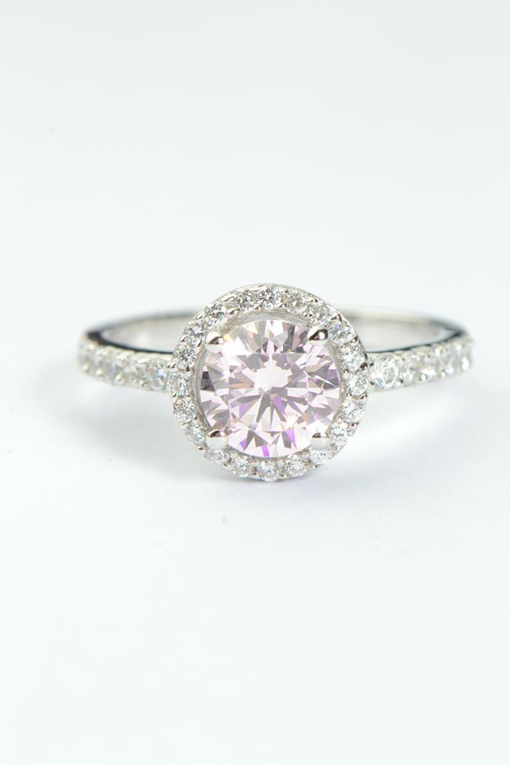 Silver pink CZ round halo ring
