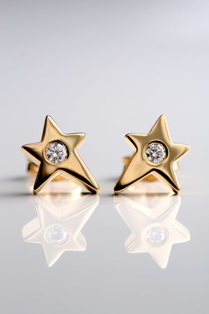 Falling star 9ct yellow gold and diamond earrings - Unforgettable Jewellery