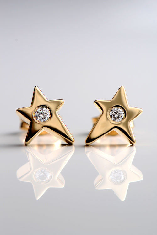 Falling star 9ct yellow gold and diamond earrings
