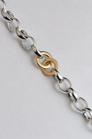Affinity silver and gold T bar bracelet - Unforgettable Jewellery