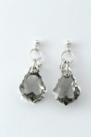 Silver CZ two stone drop