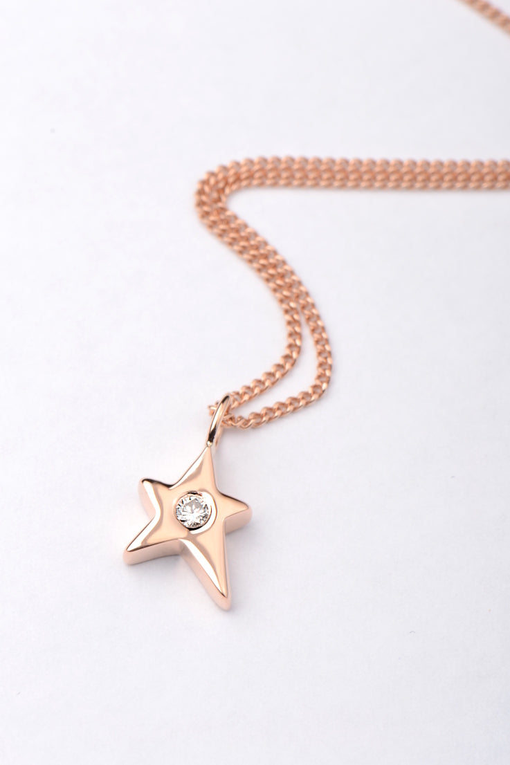Falling Star 9ct rose gold diamond pendant - Unforgettable Jewellery