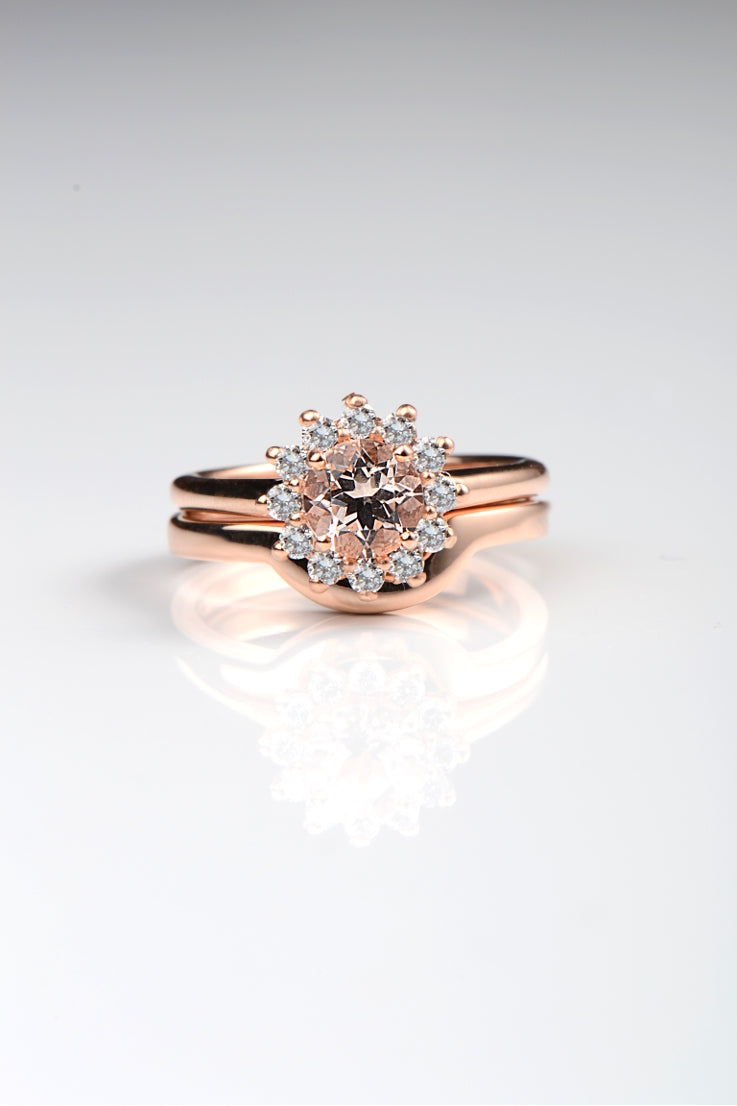 Rose gold shaped wedding band Unforgettable Jewellery