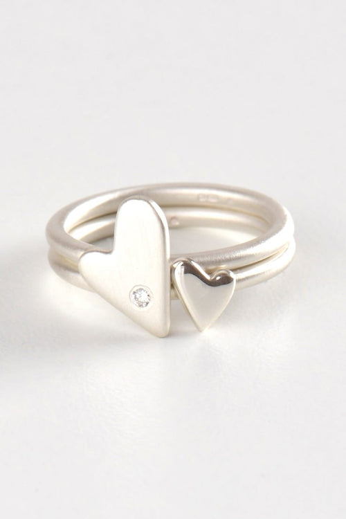 From the heart double heart diamond ring - Unforgettable Jewellery