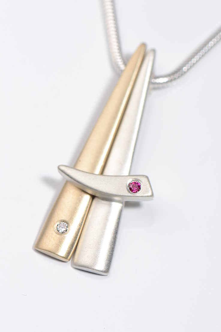 Cairn 9ct gold and silver ruby and diamond pendant - Unforgettable Jewellery