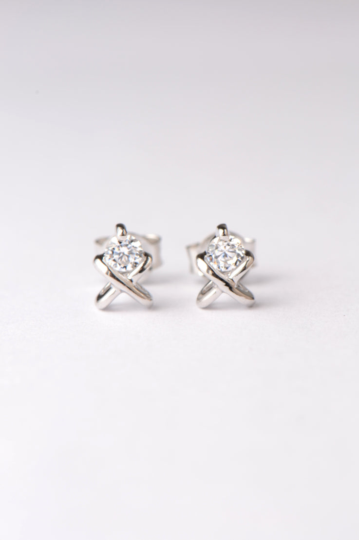 Small silver CZ kiss stud earrings