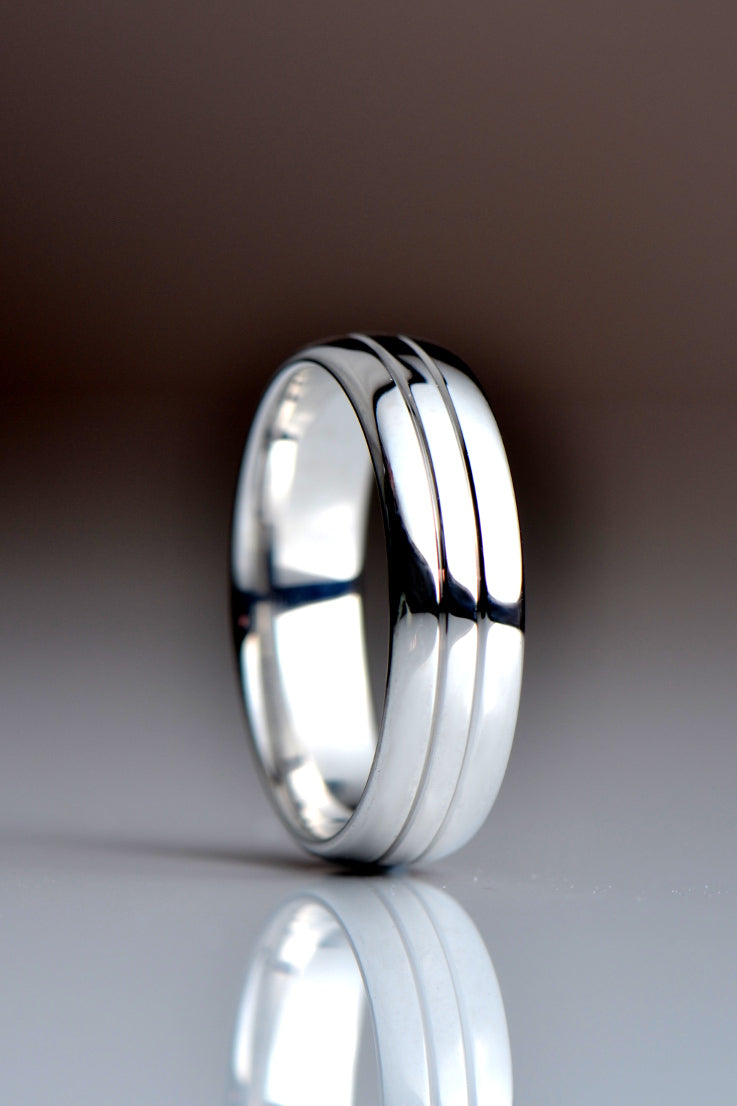 6mm wide court wedding ring with line detail - Unforgettable Jewellery