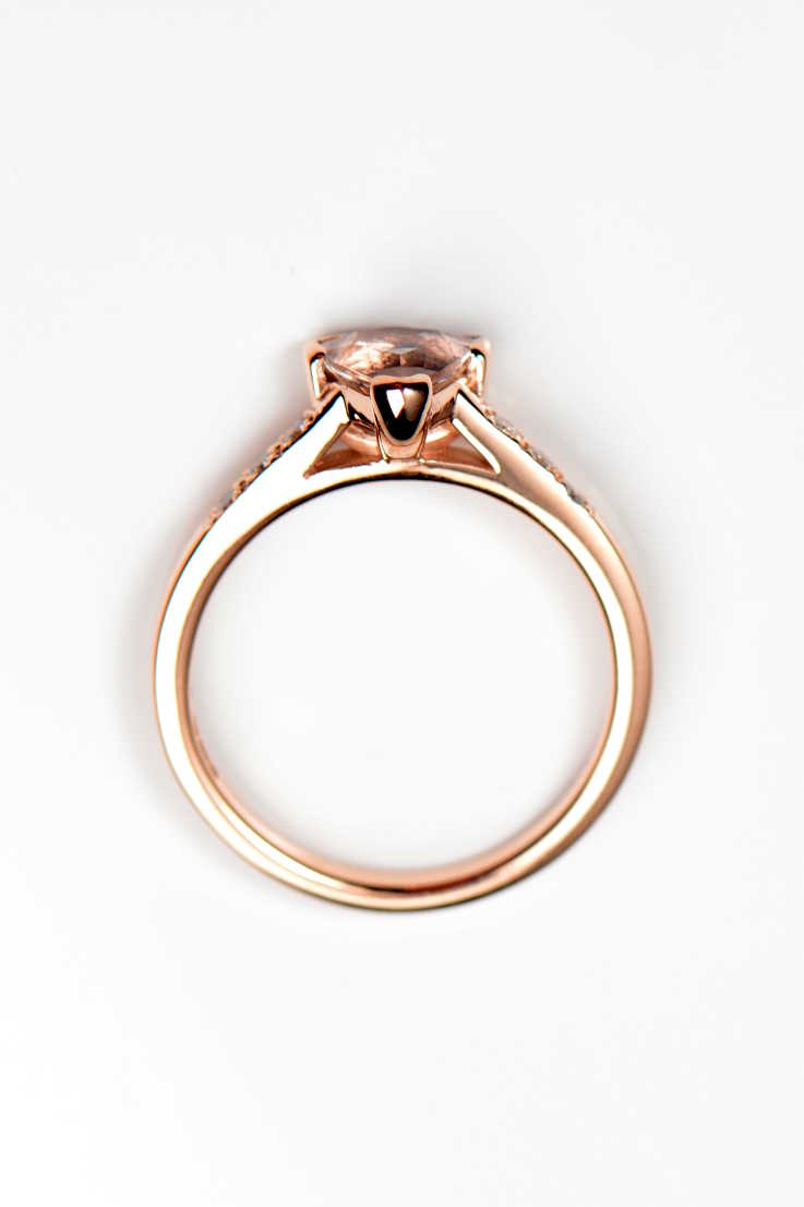 Morganite trillion diamond ring rose gold Slingshot ring