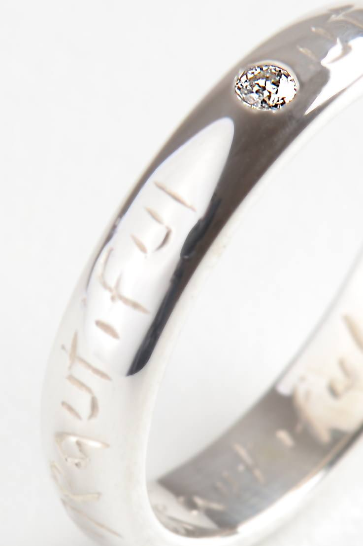 Beautiful Silver Narrow Ring with Diamond - Unforgettable Jewellery