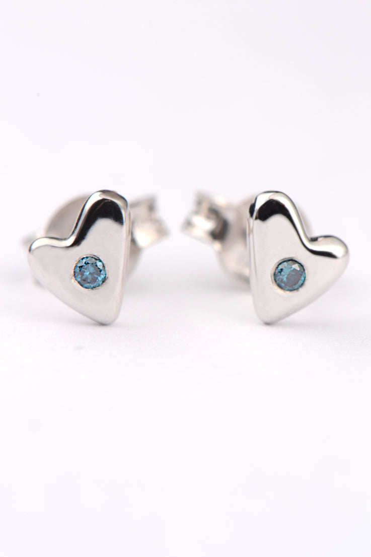From the heart white gold and blue diamond earrings - Unforgettable Jewellery