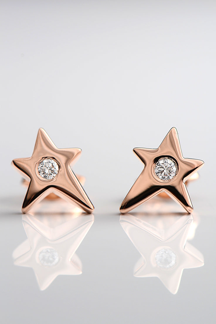 Falling star 9ct rose gold with diamond earrings - Unforgettable Jewellery