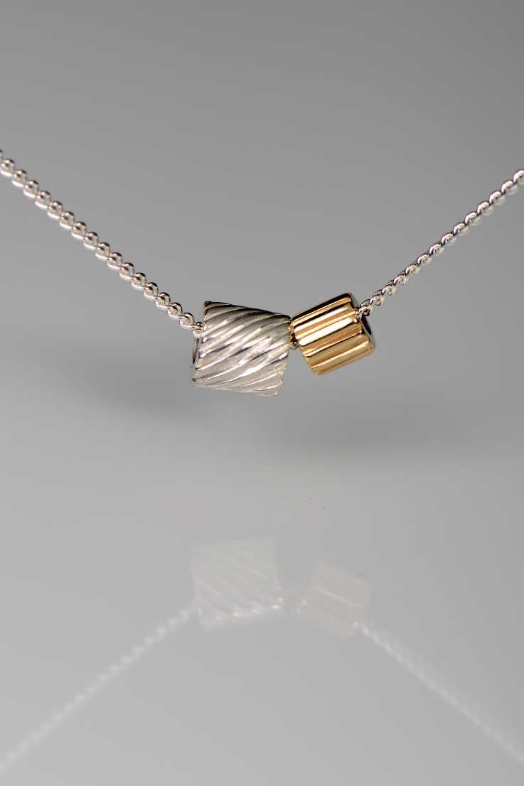 Bella Figura yellow gold Ditalini and silver Ditali pendant - Unforgettable Jewellery