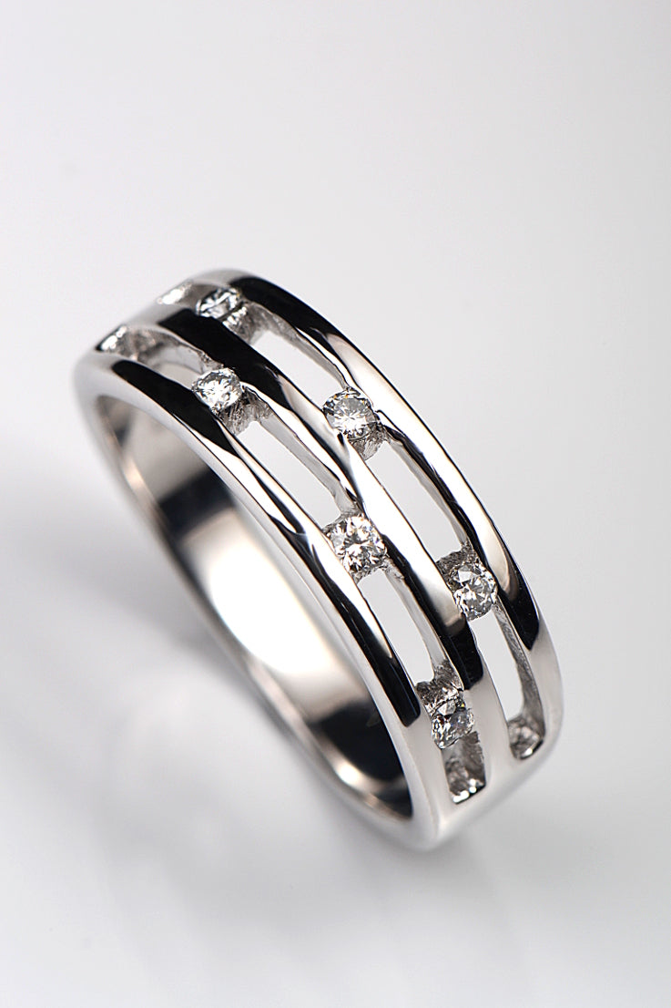 9ct White gold wide diamond ring - Unforgettable Jewellery