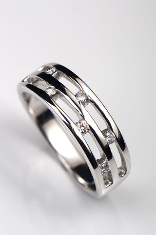 Silver and diamond embrace ring