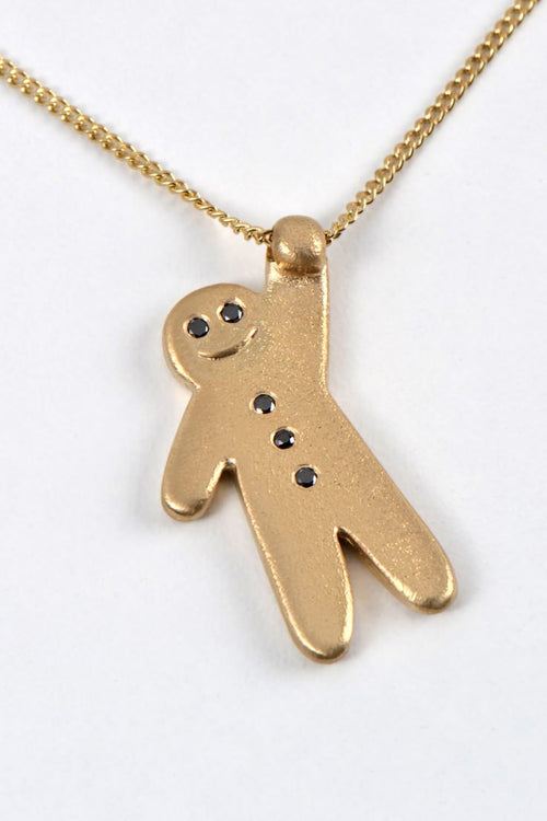 Gingerbread baby pendant gold - Unforgettable Jewellery