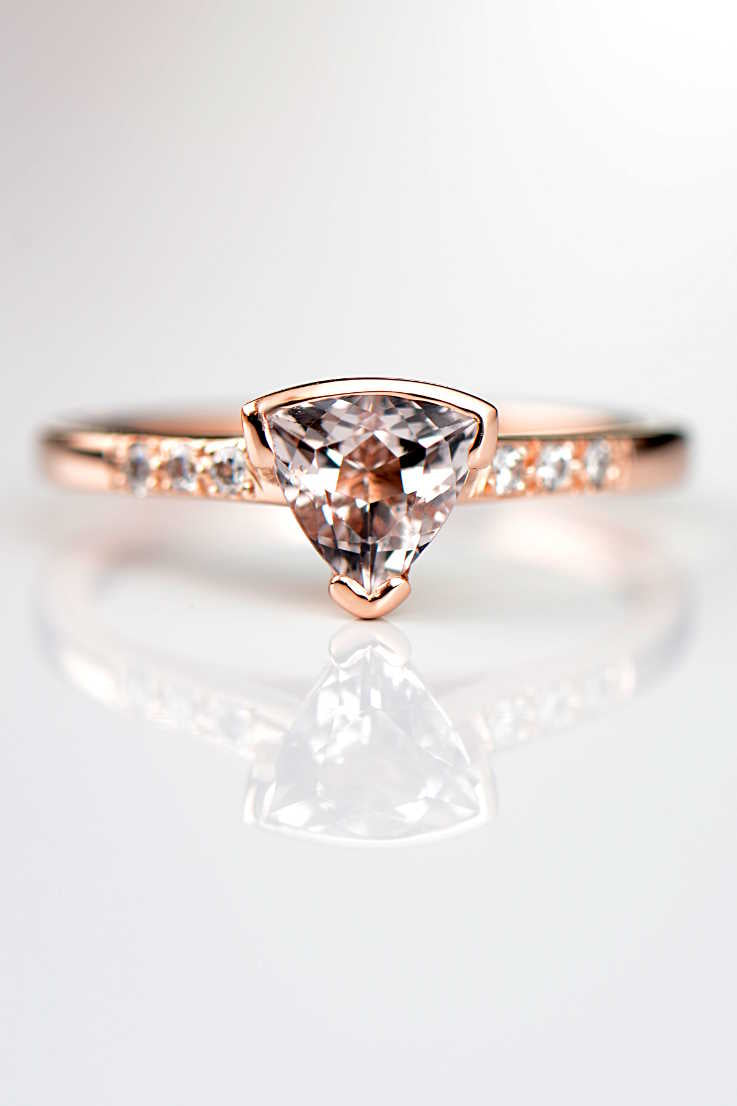 Morganite trillion diamond rose gold ring slingshot design