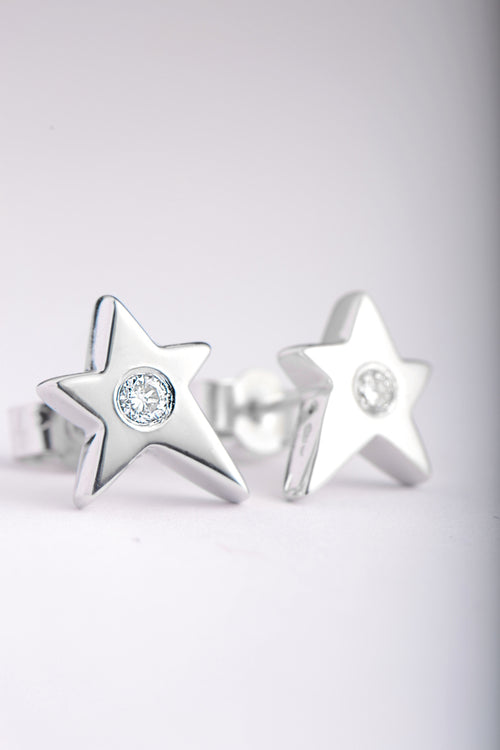 Falling star 9ct white gold with diamond earrings
