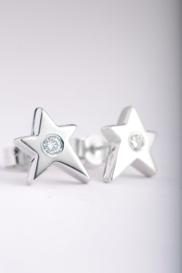 Falling star 9ct white gold with diamond earrings - Unforgettable Jewellery