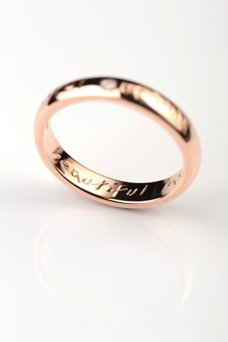 Beautiful rose gold narrow ring with diamond - Unforgettable Jewellery