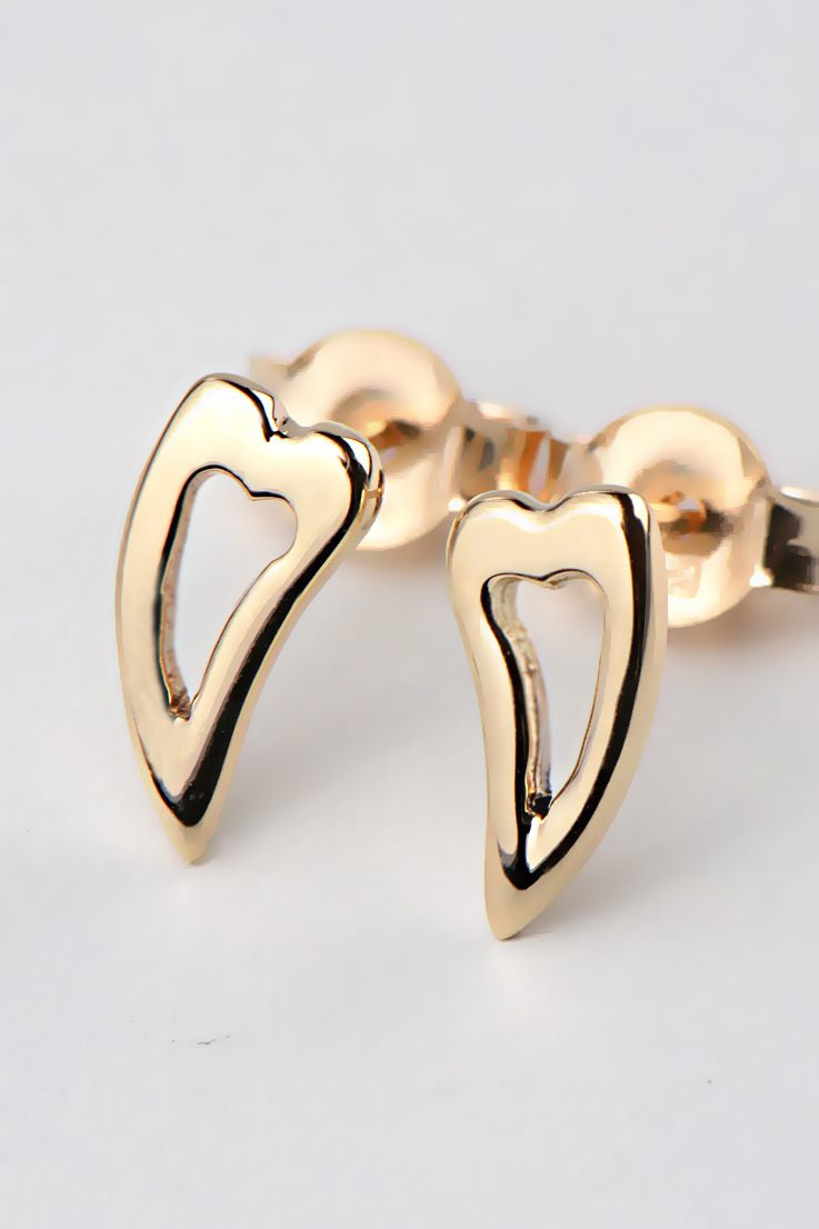 My angel 9ct yellow gold heart earrings