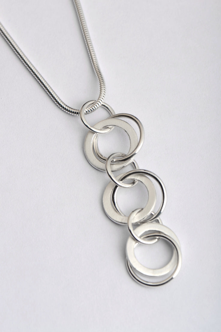handmade silver triple circles pendant - Unforgettable Jewellery