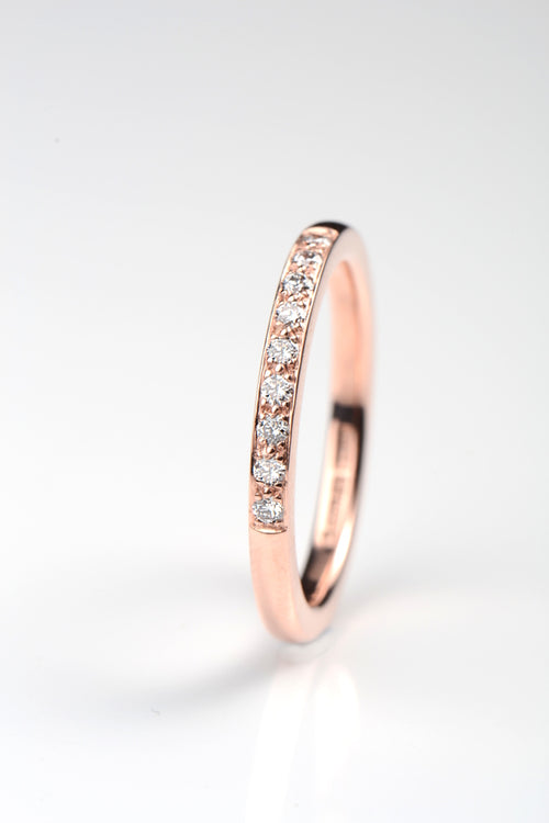 2mm 9ct rose gold diamond band