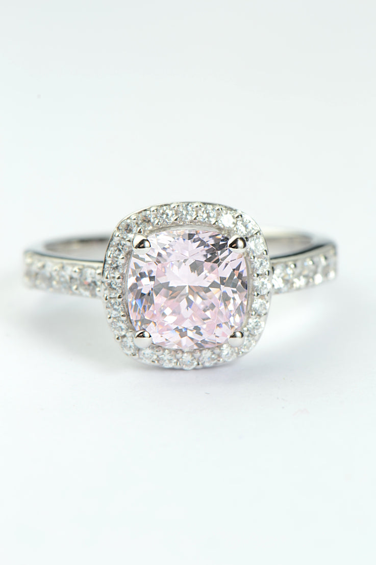 Silver pink CZ cushion cut halo ring